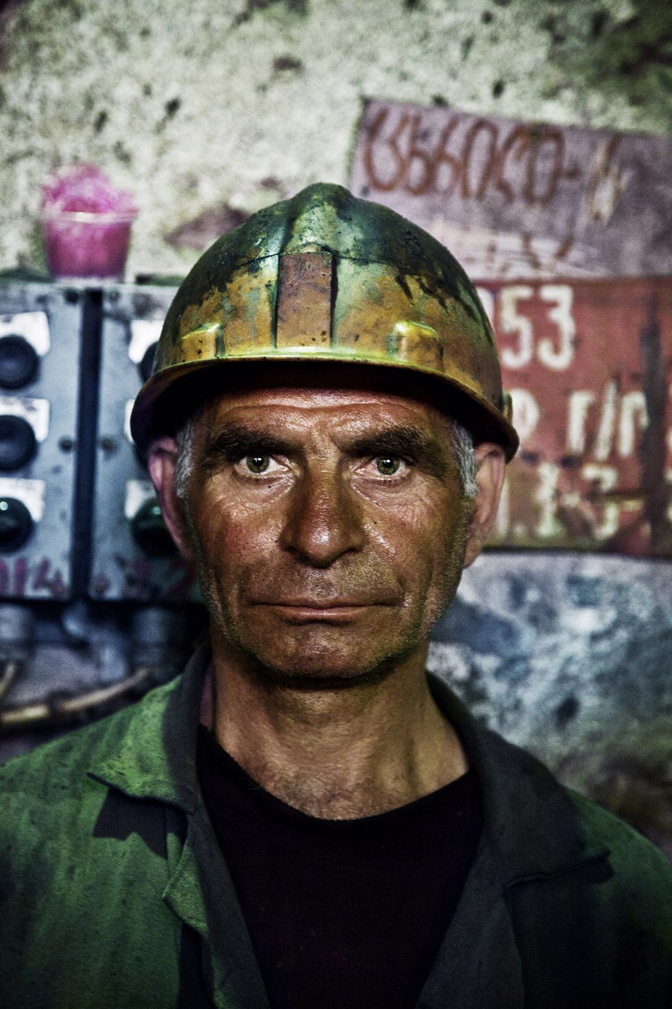 GEORGIA . Mineworker Zura works in a Mine factory in Chiatura 8 hours a day for 18 years. His monthly salary is $200.