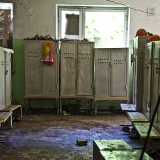 Georgia. Chiatura City. Mineworkers changing room. in the manganese mine factories in extremely hard conditions.