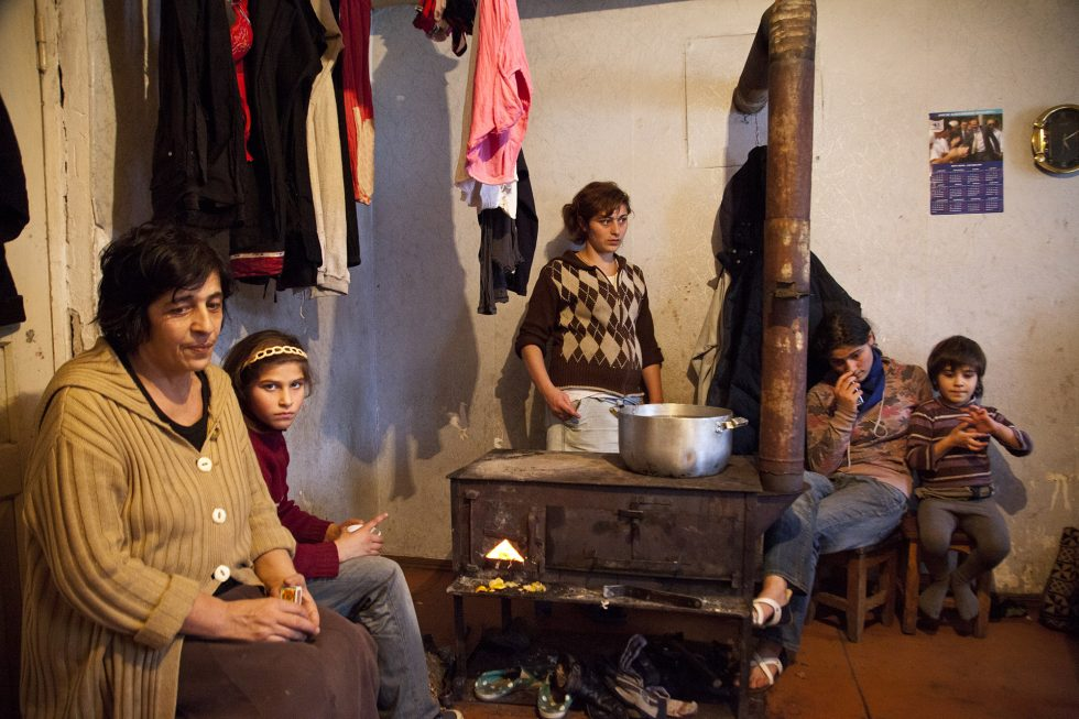 GEORGIA. Mineworker Zaza's  wife and children. Zaza has 15 kids with his wife.